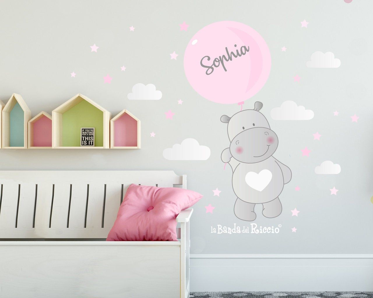 Wall Decals Kids Wall Stickers Baby Nursery Room Decor Hippo