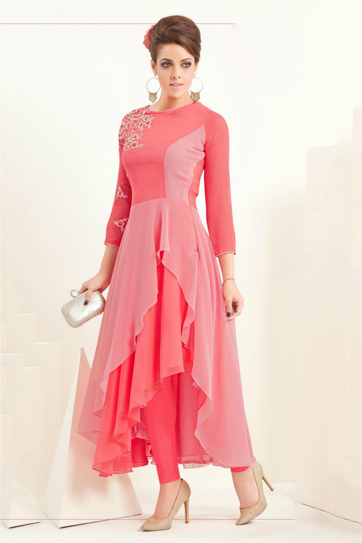 60 GM Georgette Party Wear Kurti In Peach Colour