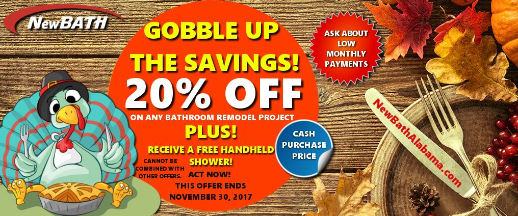 GOBBLE UP THE NOVEMBER SAVINGS! Bathtub shower remodel