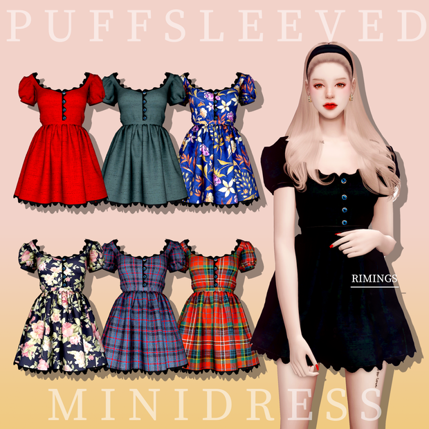 [RIMINGs] Puff Sleeved mini Dress | RIMINGS on Pa