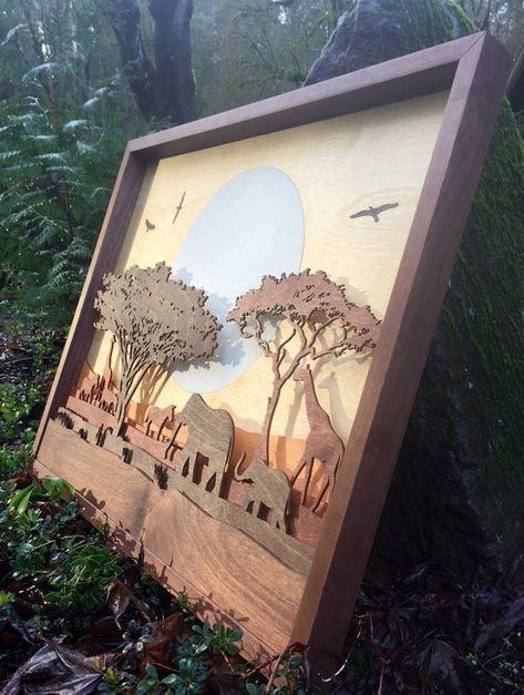 3D Wood Shadow Box Inlaid / African Wildlife / Serengeti Landscape Elephants, Zebras, Giraffes / Handcrafted / Inlaid Moon, Birds /Laser Cut
