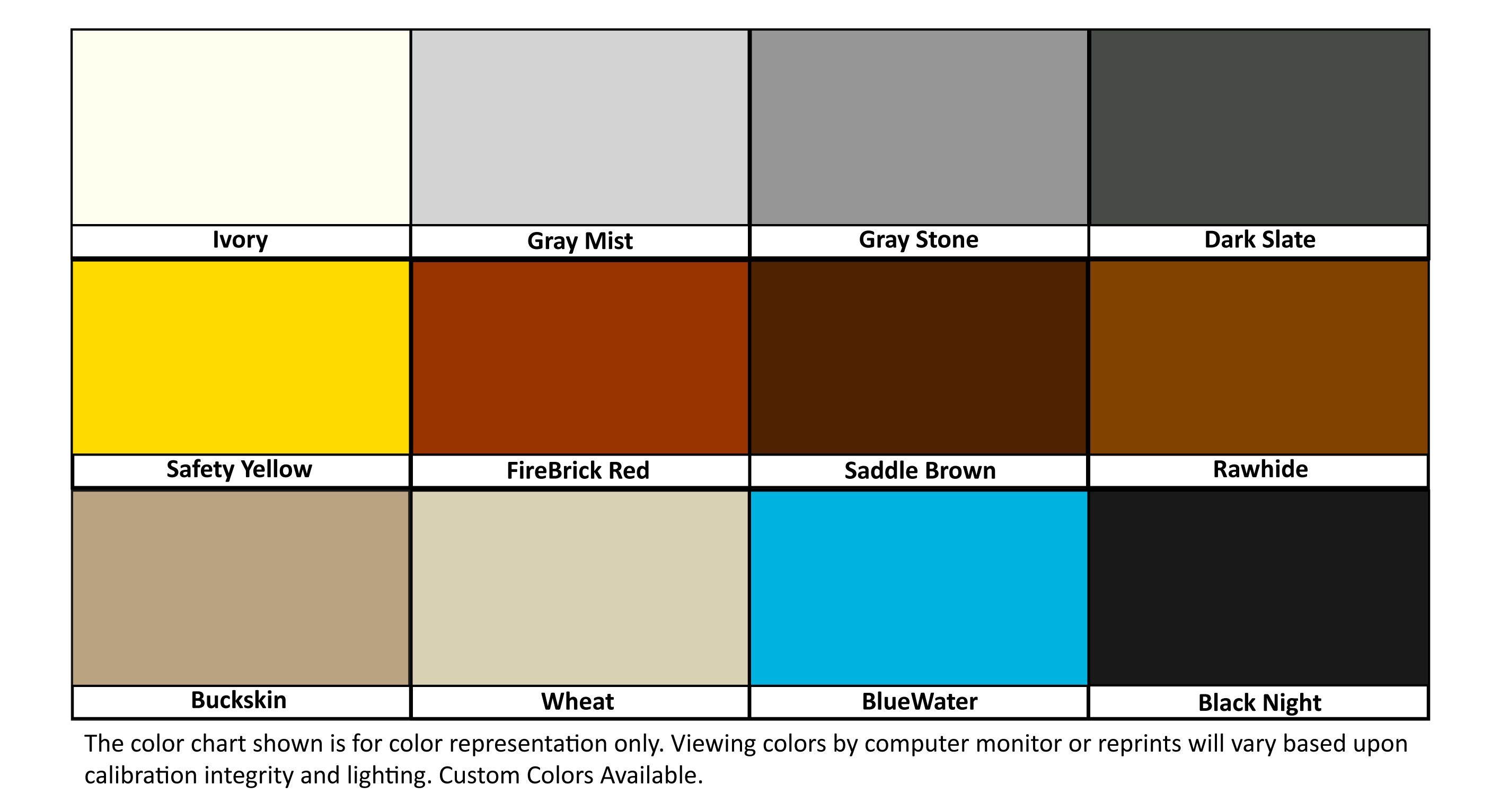 New Eco Tuff Colors Bar Chart Color Chart
