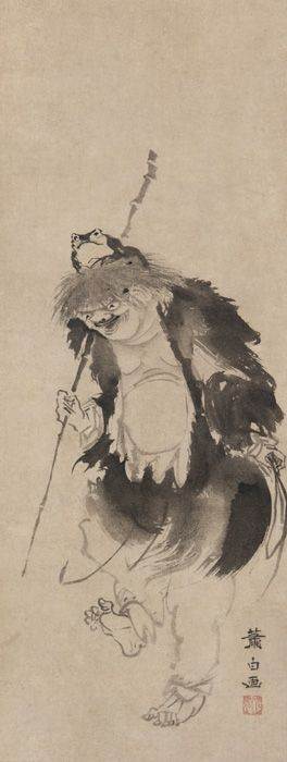 Soga Shohaku (1730-1781), Gama Sennin and his three-legged toad. Ink on paper, cm. 200,8 x 55,2. The Smithsonian's Museums of Asian Art, inv. F1904.192