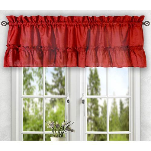 Stacey Red 56 X 24 Inch Tailored Tier Pair Curtains Valance