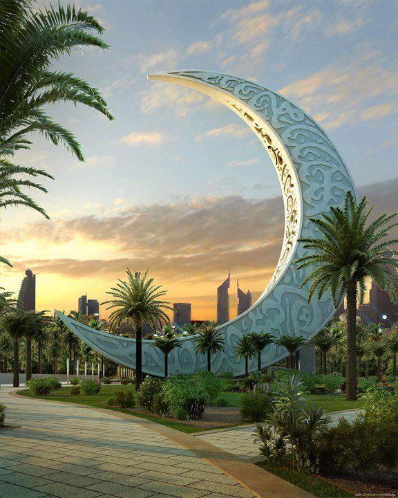 The New Moon Islamic Landscape Park Dubai Uae Dubai Dubai Travel Beautiful Places