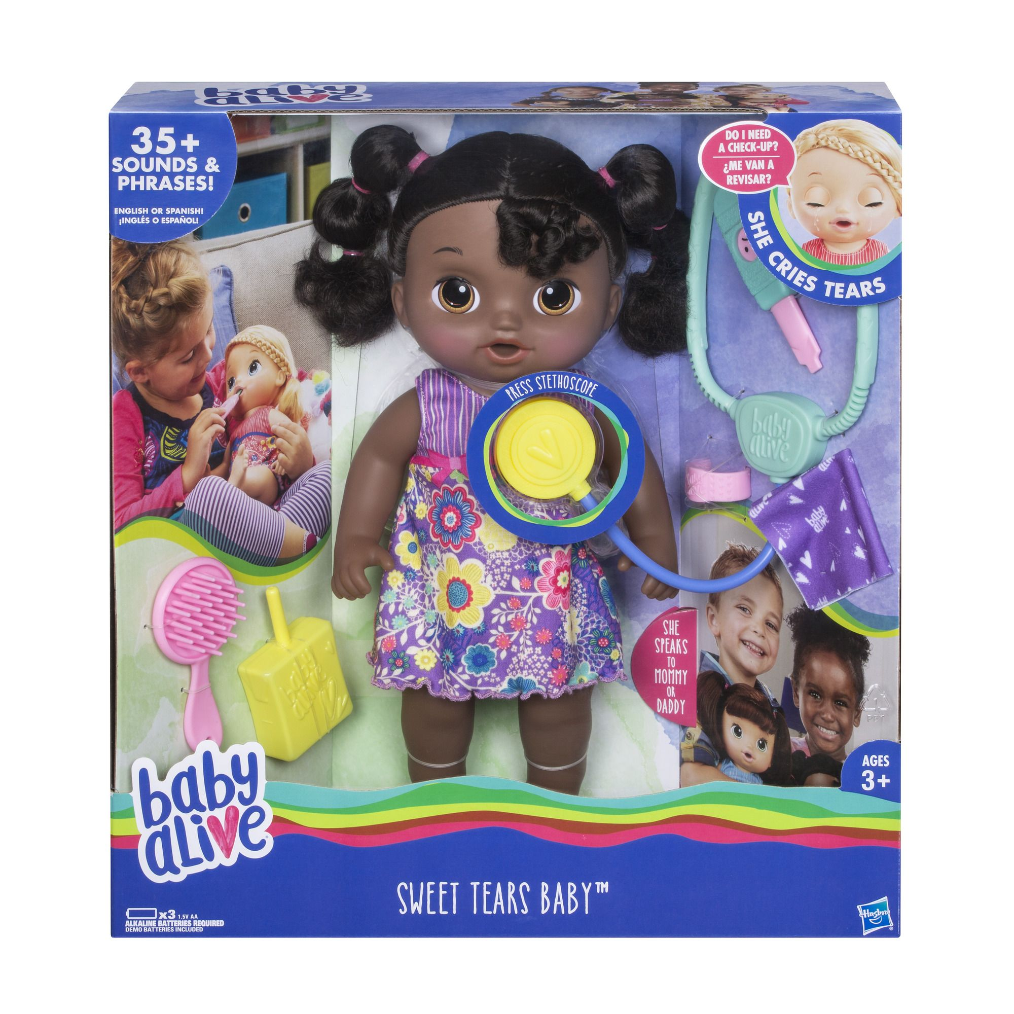 Baby Alive Sweet Tears Black Hair Baby Doll Drinks And Cries Tears With Doctor Visit Accessories Walmart Exclusive Walmart Com In 2020 Baby Alive Baby Dolls Sick Baby