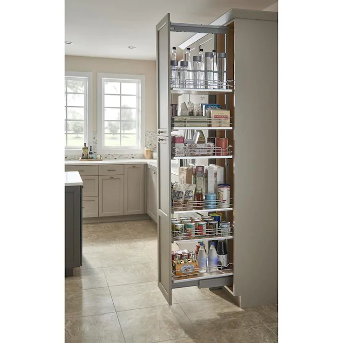 Rev A Shelf 13 In W X 58 25 In H 5 Tier Pull Out Metal Soft Close Baskets Organizers Lowes Com Pantry Design Kitchen Style Kitchen Pantry Design