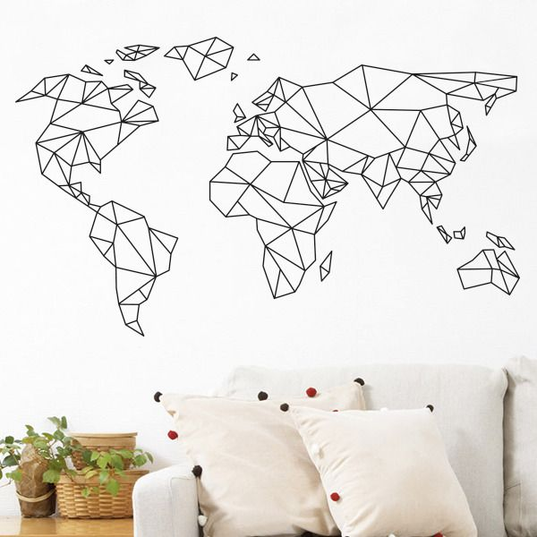 Sticker mural mappemonde carte monde pinteres for Decoration murale geometrique