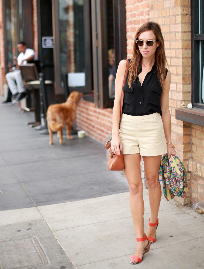 433091129ab76 Sydne Style black shirt khaki shorts summer outfit ideas orange sandals