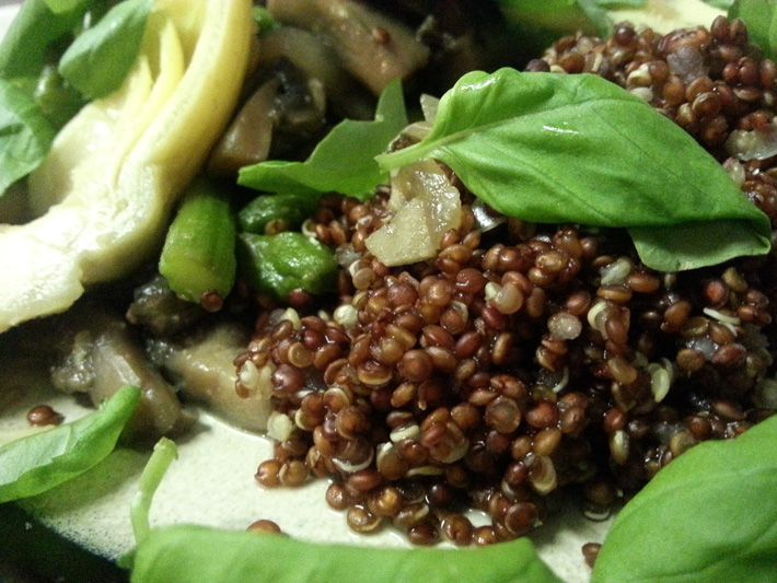 Eat the Rainbow: Sautéed Asparagus & Artichokes With Red Quinoa