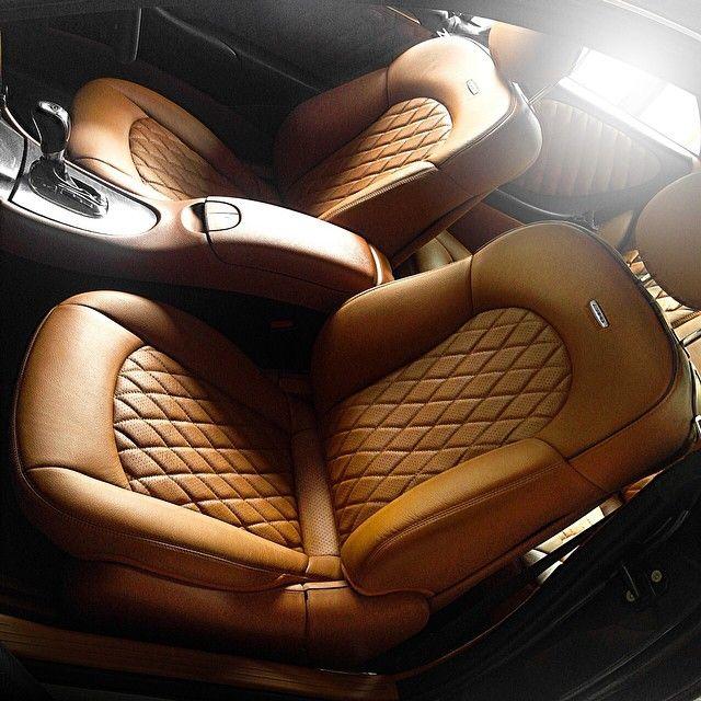 Luxury Cars Diamond Stitch Bespoke AMG Interior Mercedes Benz CLK Brown Tan