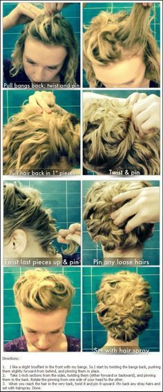Short Curly Updo Hairstyle Tutorials Short Hair Updo Curly Hair Updo Short Hair Styles