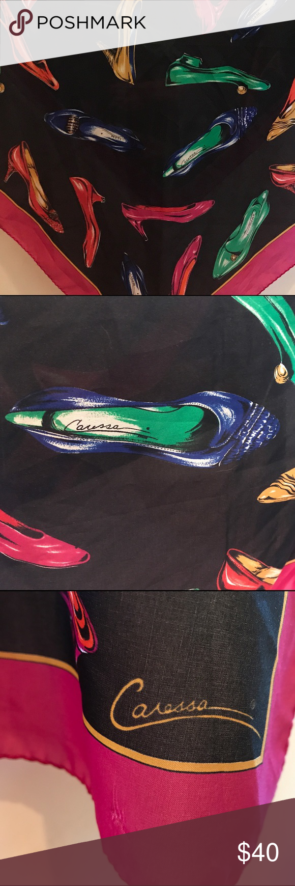 "Caressa Silk Scarf 👠 Vintage 1970's Caressa Silk Scarf! 👠Chic Shoe👠Design! 30"" x 30"" unique and classic!!!👠👠👠 Caressa Accessories Scarves & Wraps"
