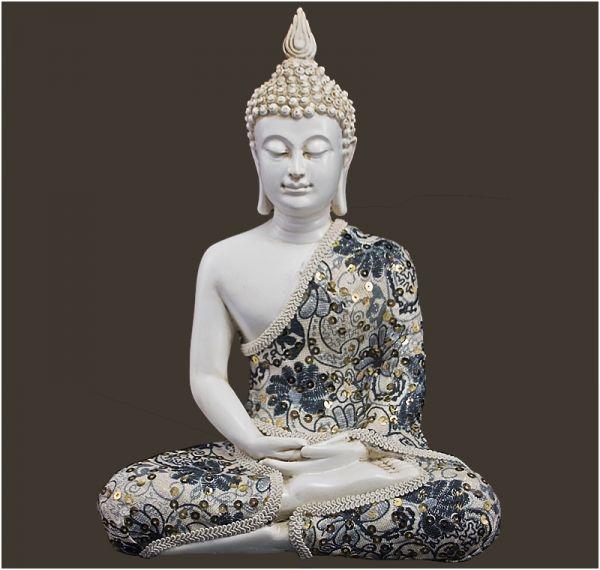 Buddhawelt - Meditations-Buddha weiss Höhe: 29 cm #buddhadecor