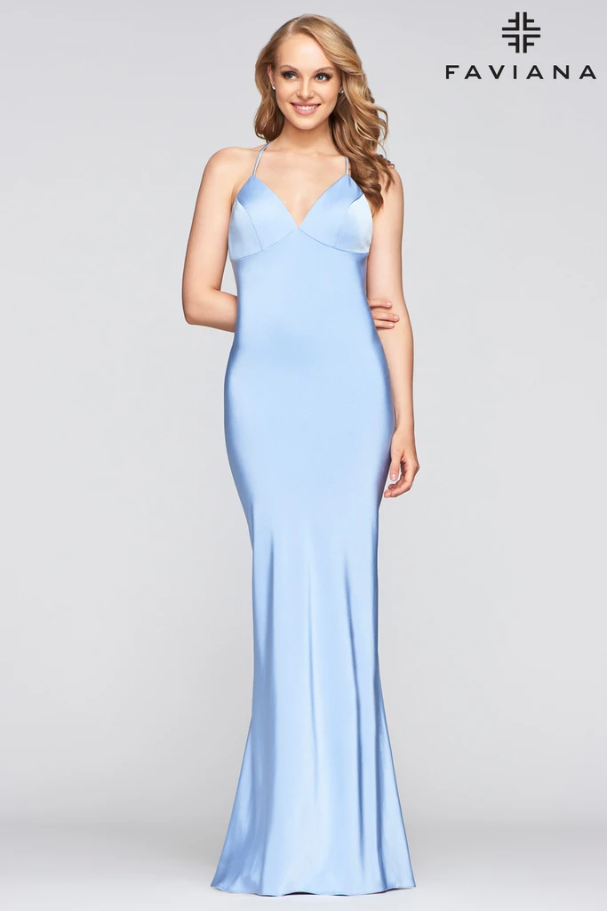 Faviana S10214 LOng Formal Fitted Satin Prom Dress | The Dress Outlet