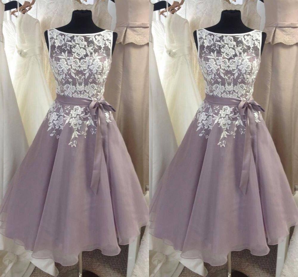 Plus size vintage lace formal bridesmaid dresses knee length prom