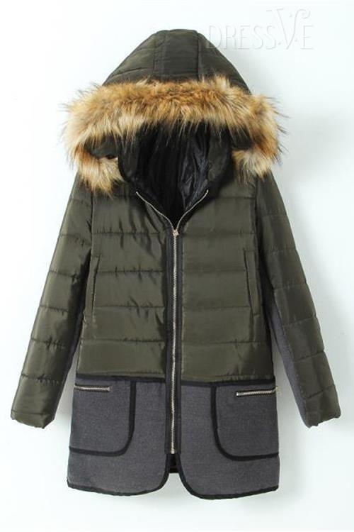 Color Block Hooded Long Sleeve Overcoat