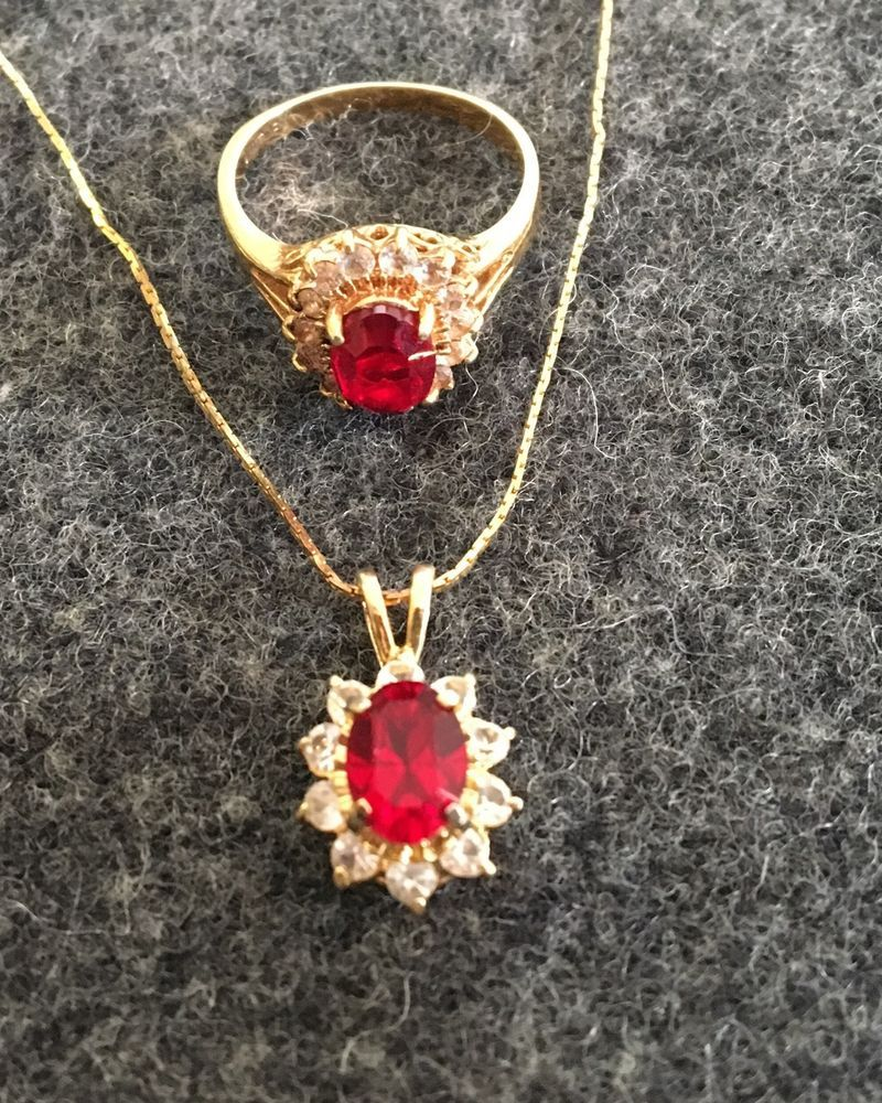 K gold filled oval red garnet ring size and inch pendant