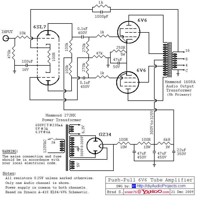 6sl7 driver    push  6v6gt tube amplifier schematic