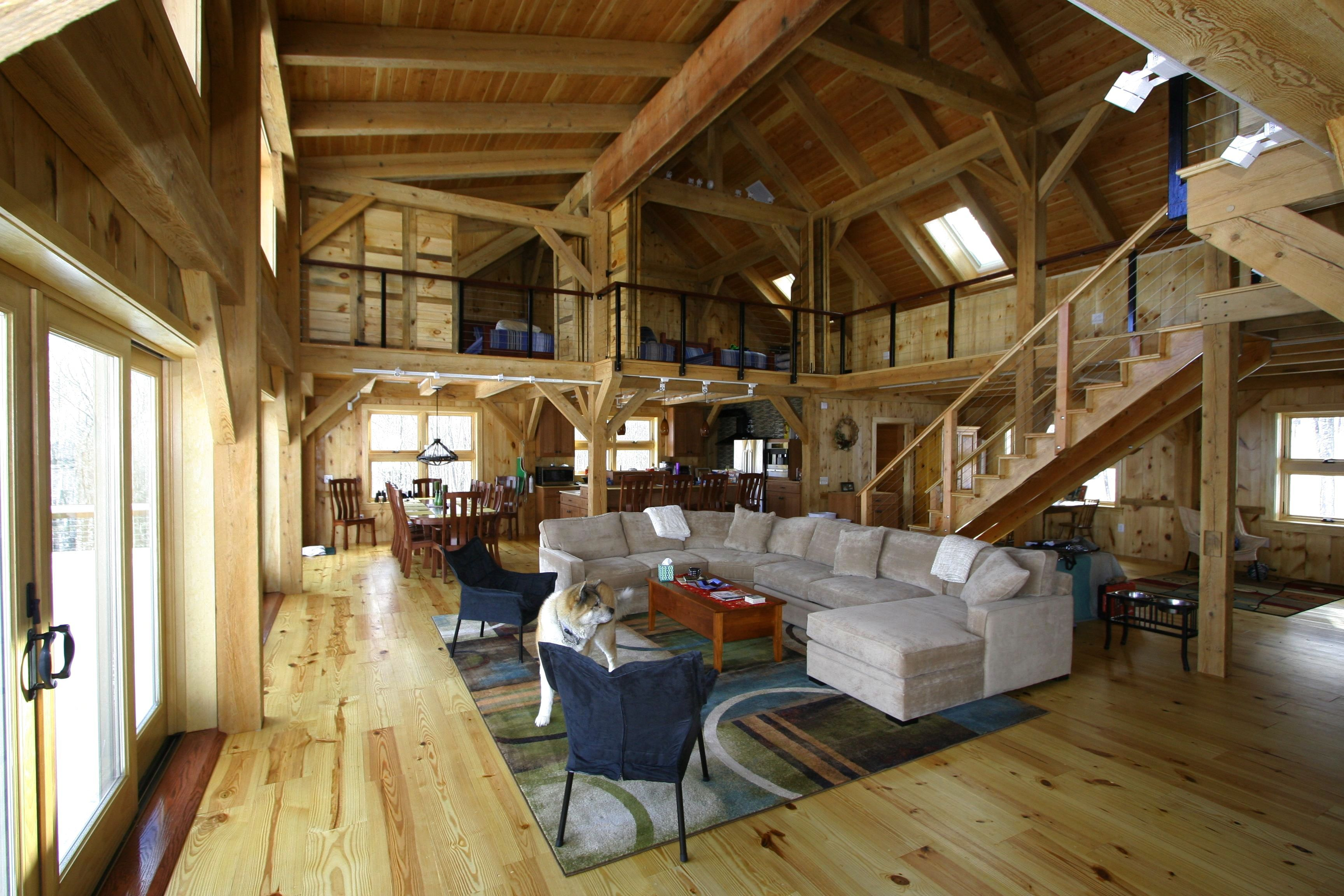 Charmant Spectacular Pole Barn Houses For Attractive Home Design: Pole Barn Houses  With Microfiber Sectional Couch With Chaise And Area Rug Also Wood Flooring  With ...
