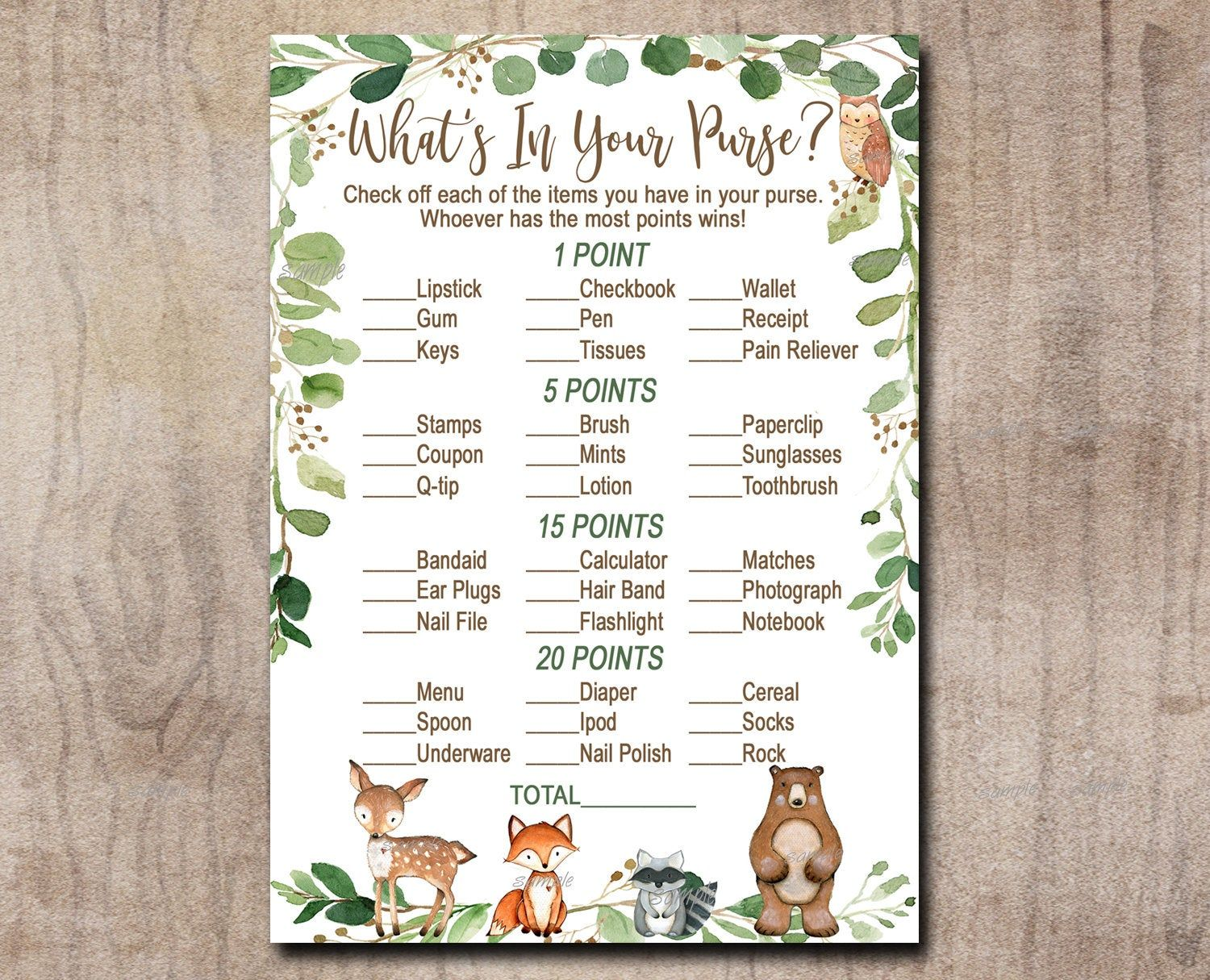 Woodland Baby Shower Game Whats in Your Purse, Gender Neutral Forest Animals, greenery Deer, Fox, Bear Printable Instant Download 0016