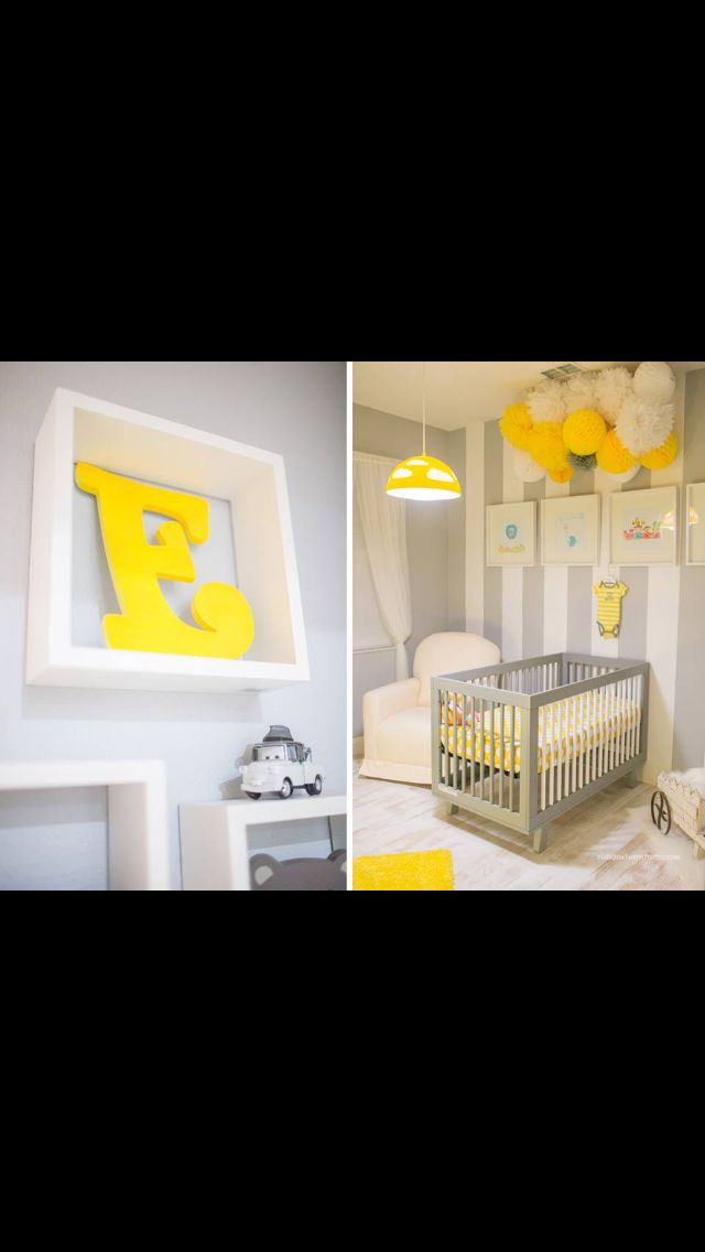 Grey White And Yellow Baby Room Small Space With Bug Design