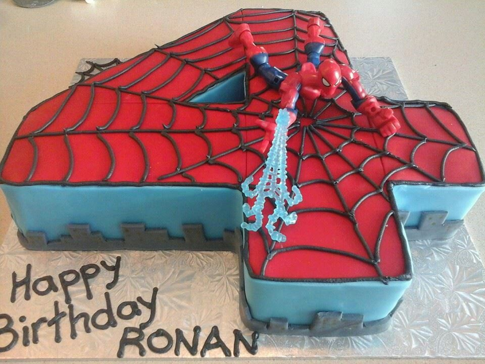 Spiderman number 4 cake Birthday Party Ideas for C Pinterest