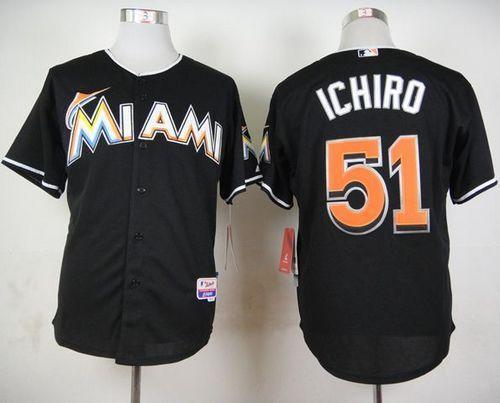half off 3233b 68a33 marlins #51 Ichiro Suzuki Black Cool Base Stitched MLB ...
