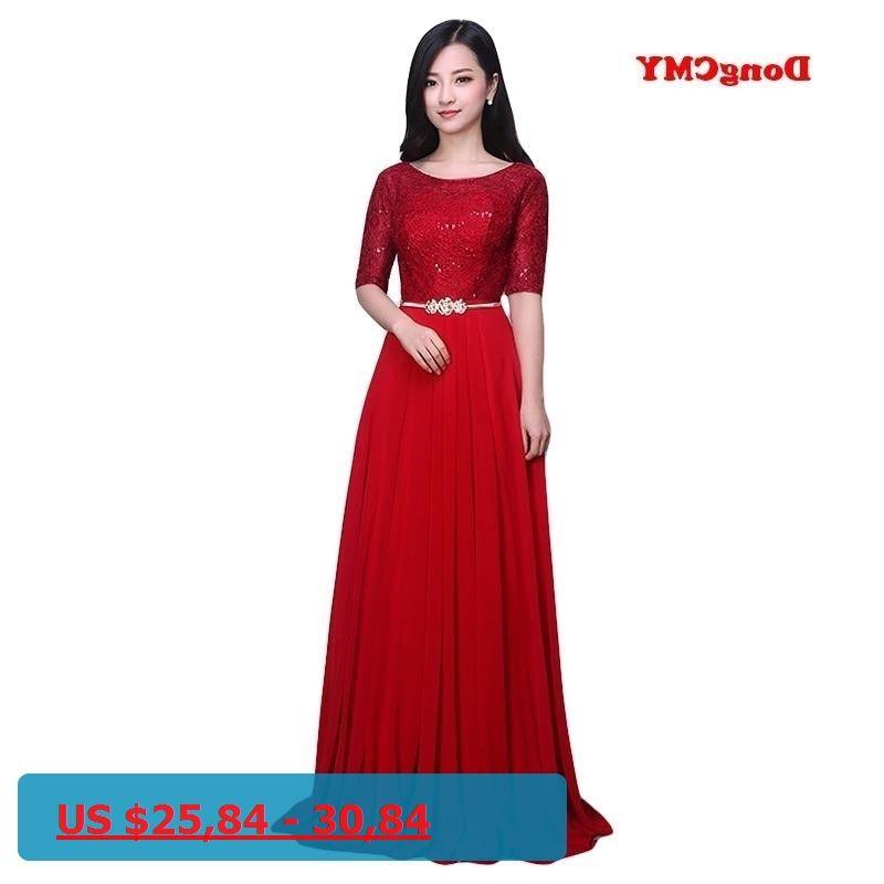 40deebc5739 DongCMY 2017 fashion lace bridal Married red long design formal vestidos  longo evening dress