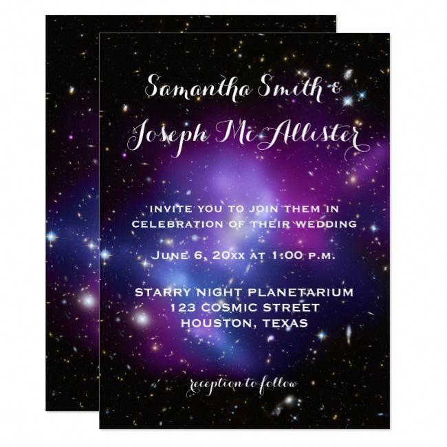 Purple Galaxy Cluster Planetarium Wedding Invitation