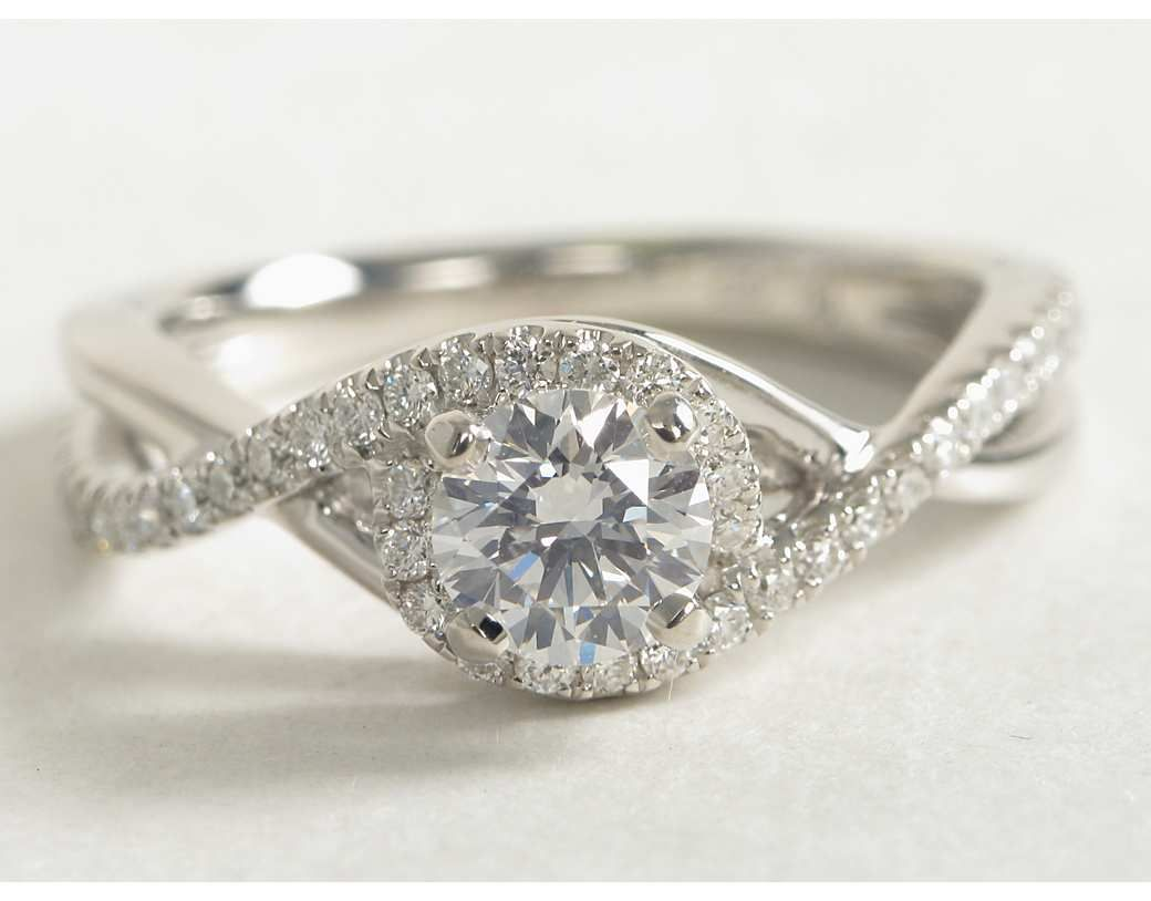 Petite Twisted Halo Diamond Engagement Ring in 14k White Gold 1 4 ct tw