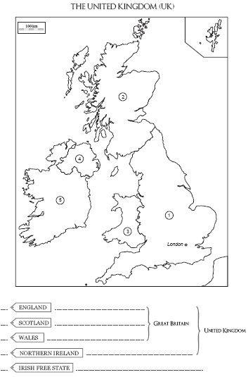 Carte à Compléter Et à Colorier Du Royaume Uni De Langleterre Et