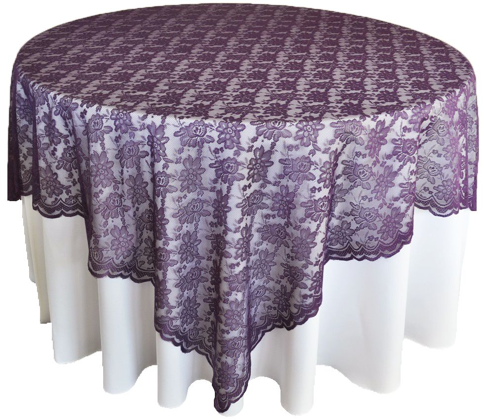 72 Square Lace Table Overlays Eggplant 90745