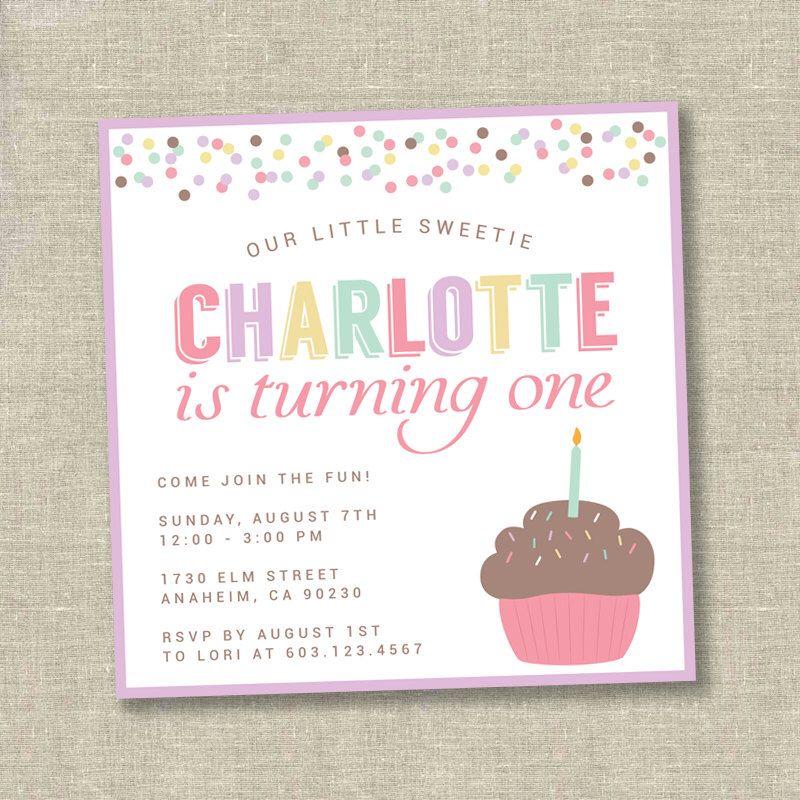 cupcake invitation, cupcake birthday invitation, cupcake first ...