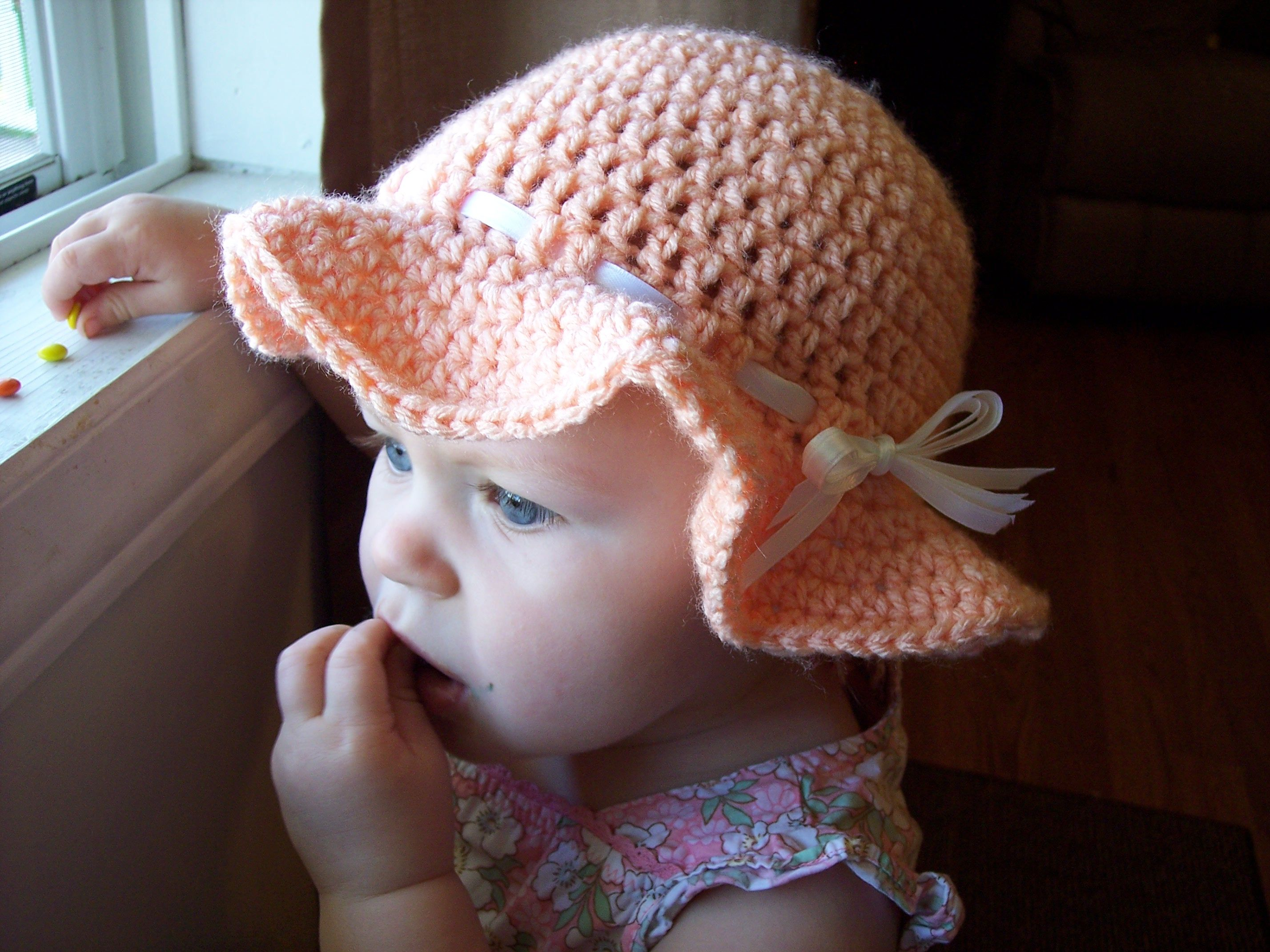Planning ahead for Baby J\'s spring and summer- Peach crochet sunhat ...