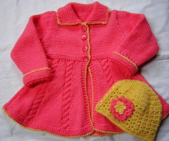 Baby Toddler Girls Swing Sweater Coat and Hat Size 2T Hand Knit Crochet