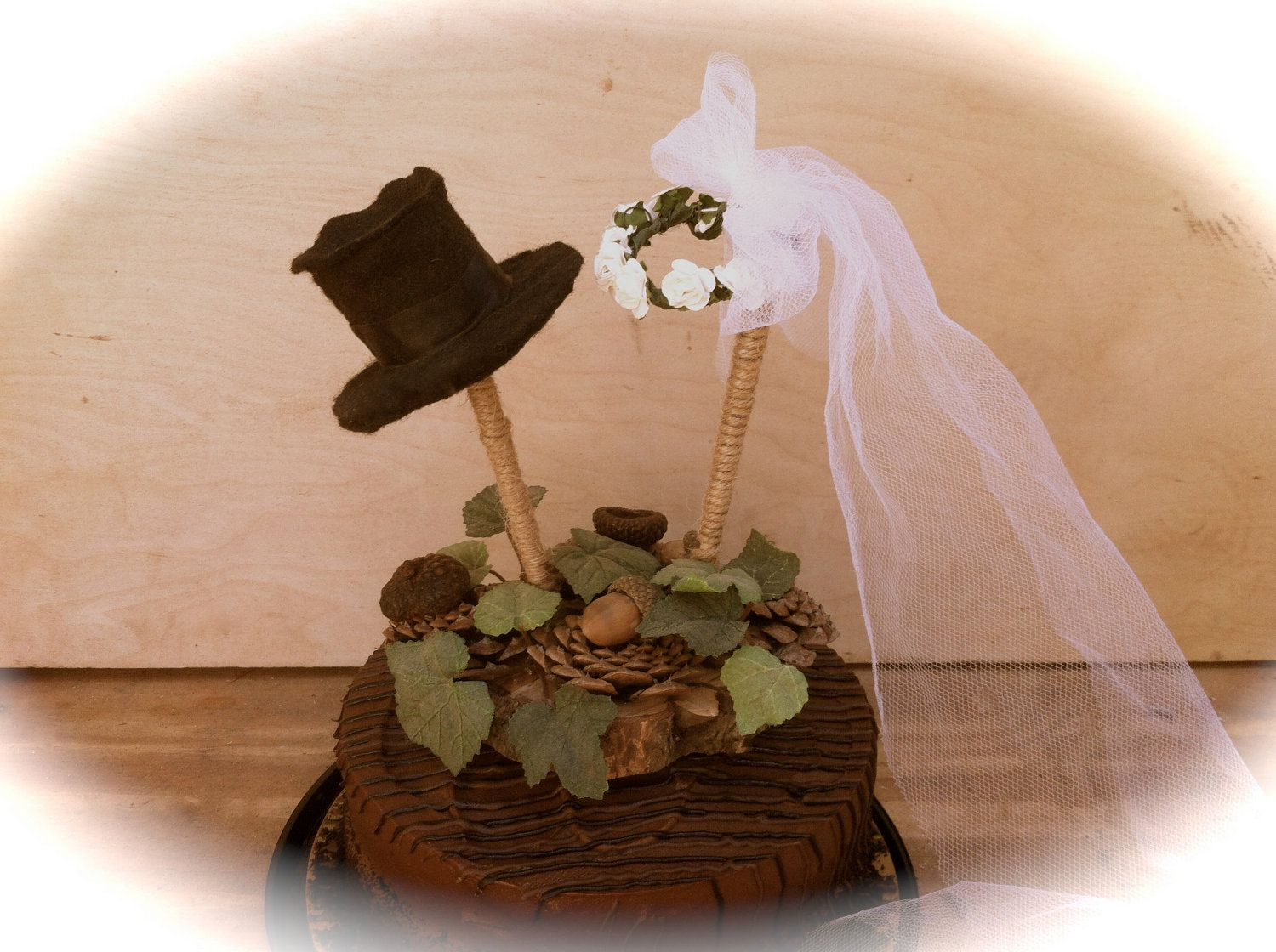Rustic wedding cake topper pine cone fall forest country decorations