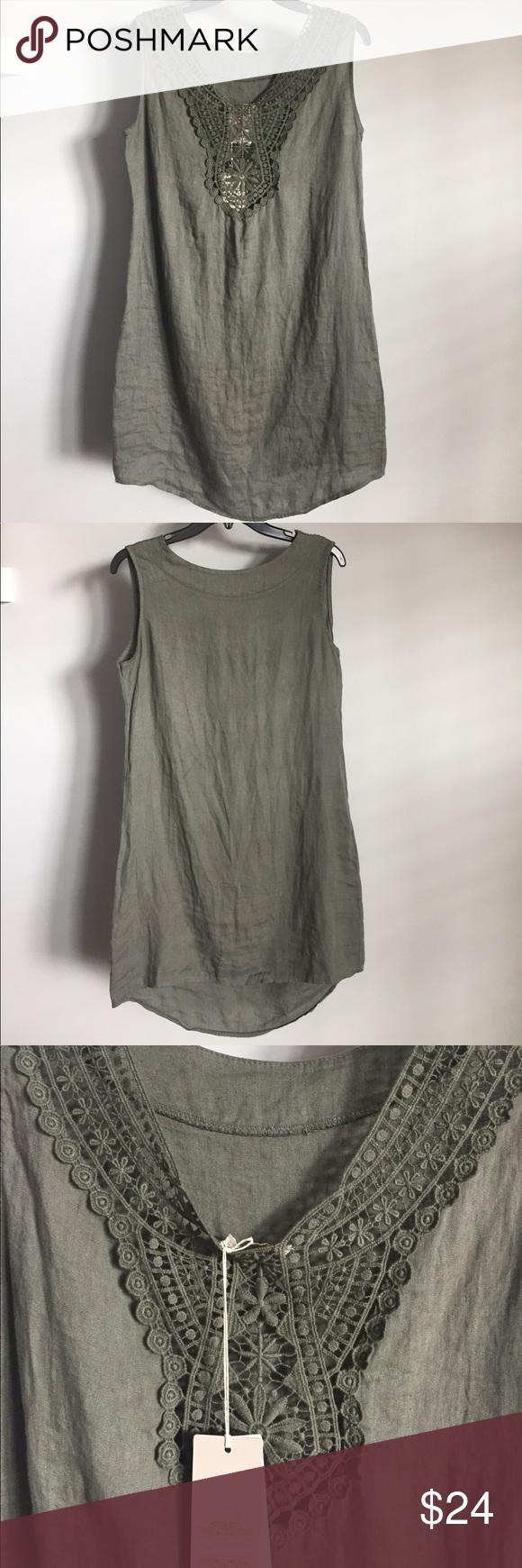 864f8d0000 Bellambra Italian Linen Dress Size XS Bellambra 100% Italian Linen Size XS  Lovely olive green