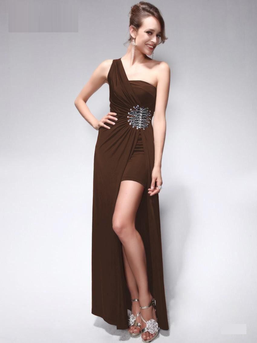 One Shoulder Green Rhinestones beading Split Long Evening Dress