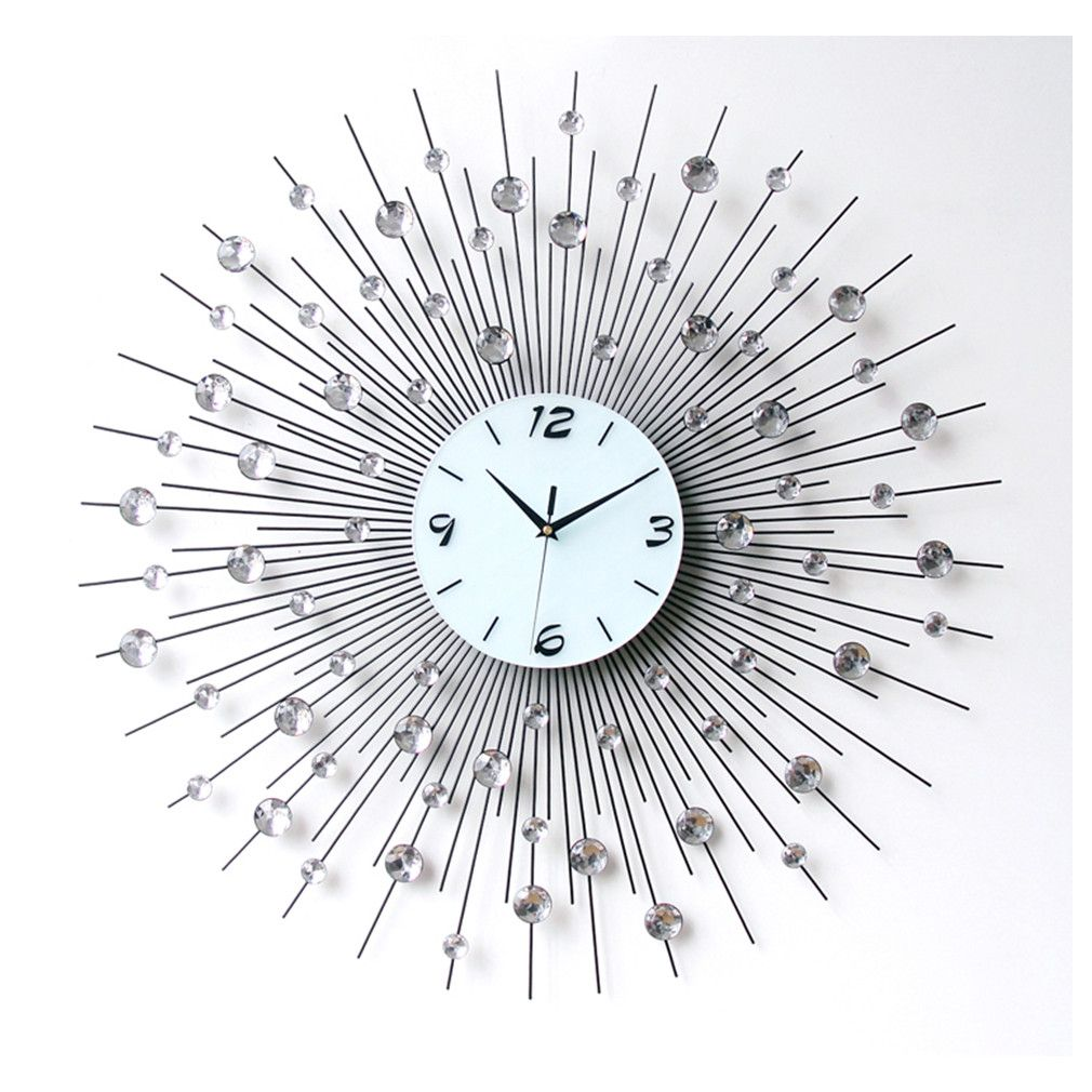 Luxury Aluminium Dial Sunburst Diamante Metal Wall Clocks Living Room Home Decor