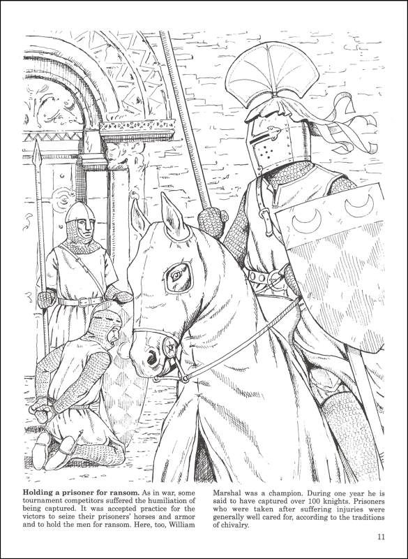 medieval jousts and tournaments coloring book additional photo inside page - Castle Knights Coloring Pages