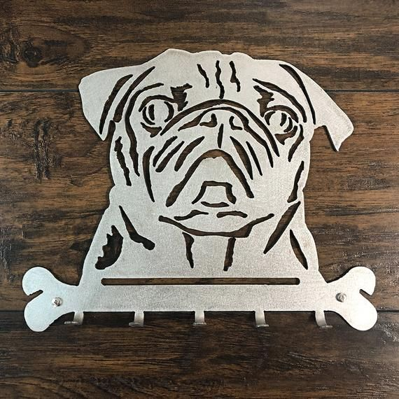 Pug Leash/Key Hanger Metal Wall Art This Pet Leash / Key