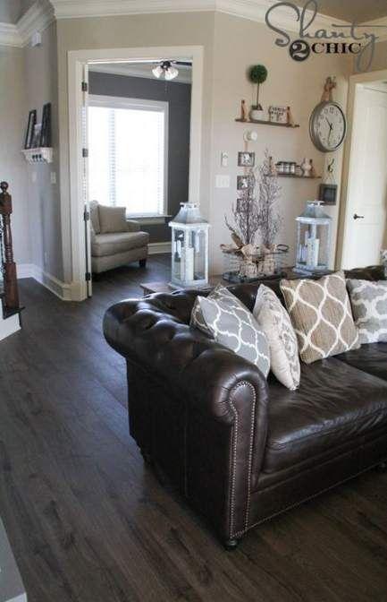 super farmhouse living room brown couch basements 21 ideas