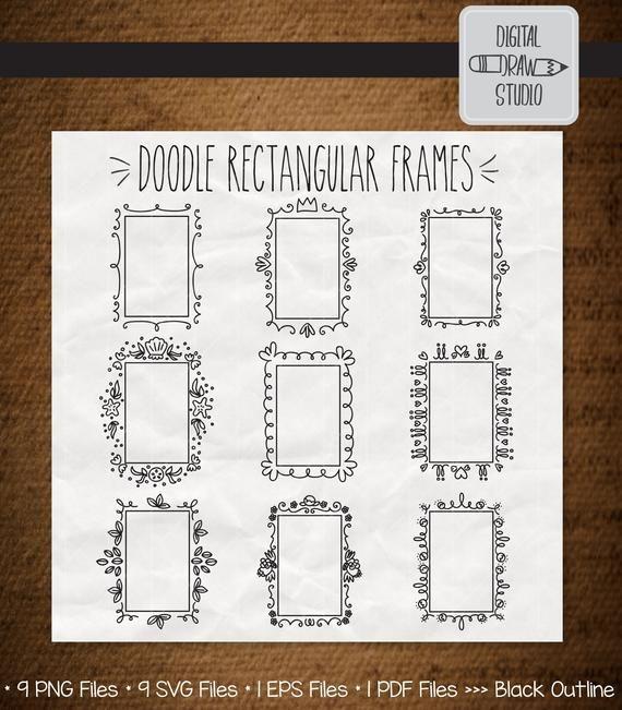 Photo of 9 Rectangular Frame Clipart | Hand Drawn Border & Decorative Princess Frame Outline Drawing | Doodle Wreath Bundle | Png Eps Pdf Svg