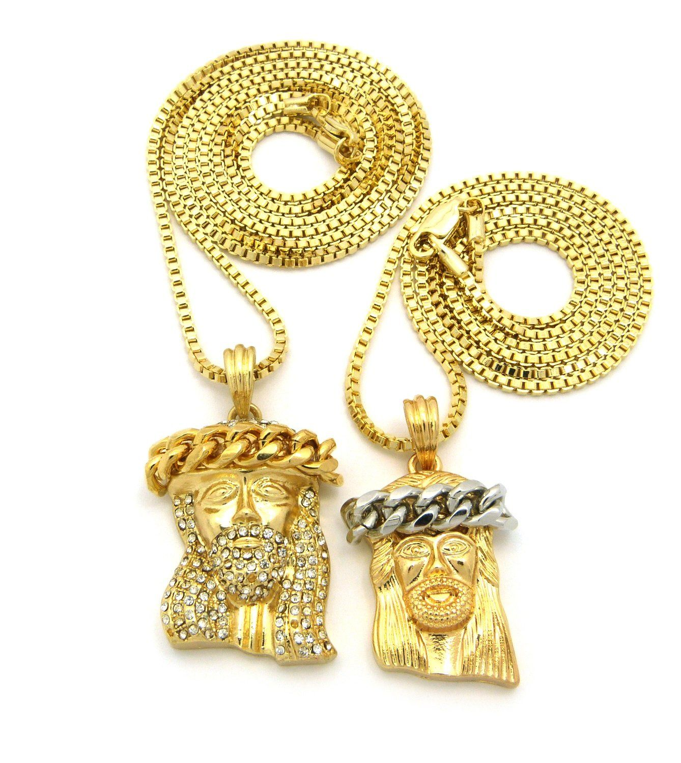New iced out jesus face double pendant umm