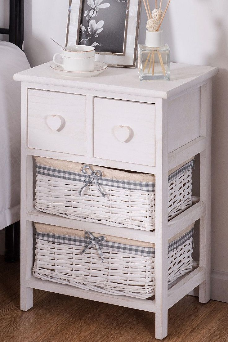 Solid Wood Nightstand Bedside End Table 2 Drawers Wicker Storage Baskets  White | Wood Structure, Open Shelves And Night Stand