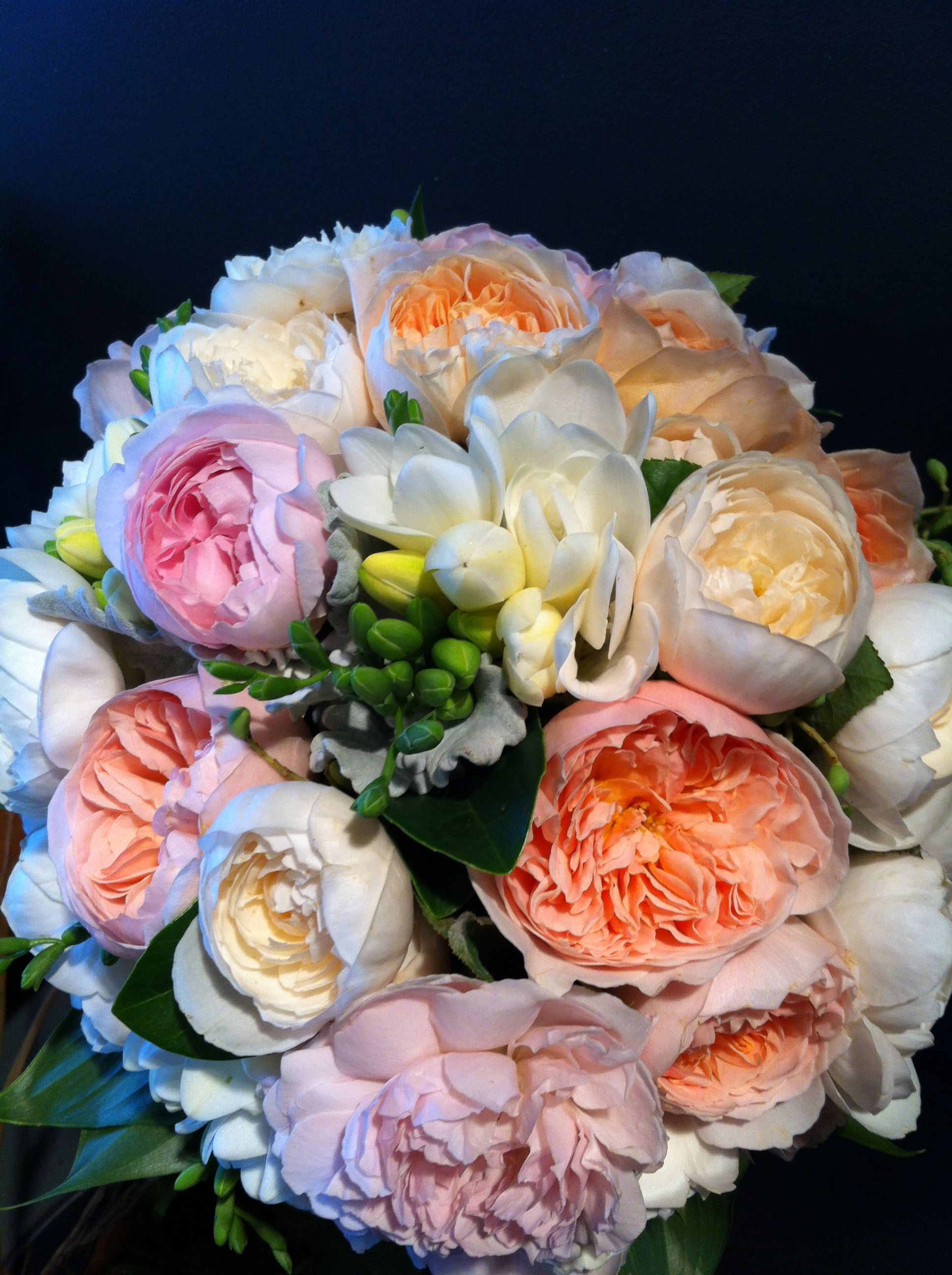 Beautiful Coloured David Austin Roses And Freesias Bridal Bouquet