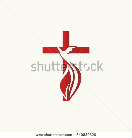 Church Logo Cross And Dove Symbol Of The Holy Spirit Catholic
