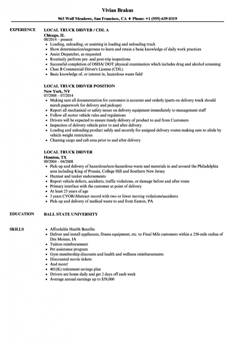 11 Truck Driver Resume Pattern in 2020 Resume examples