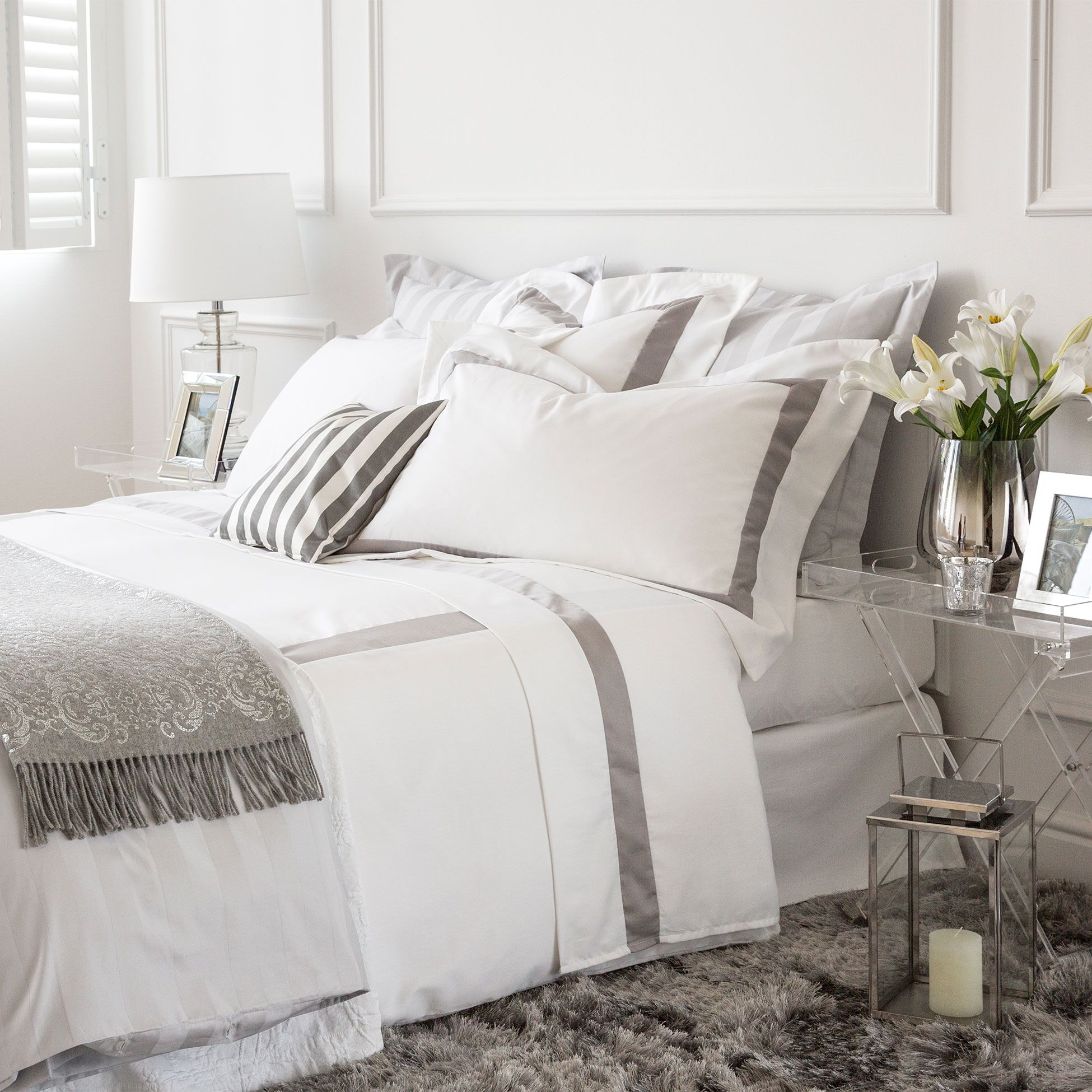Edredon Nordico Zara Home.Satin Bed Linen With Contrasting Ribbon Bed Linen Bedroom Zara